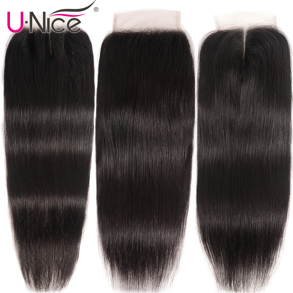"Image 3 - UNice Hair Brazilian Straight Hair Closure Free &Middle &Three Part Remy Human Hair Lace Closure Swiss Lace 4""x4"" 1 Piece-in Closures from Hair Extensions & Wigs"