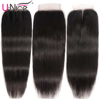 """UNice Hair Brazilian Straight Hair Closure Free &Middle &Three Part Remy Human Hair Lace Closure Swiss Lace 4\""""x4\"""" 1 Piece"""
