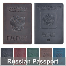 Genuine Leather Passport Cover Designed For Russian Federation Crazy Horse Leather Card Holder Business Bilingual Passport Case(China)