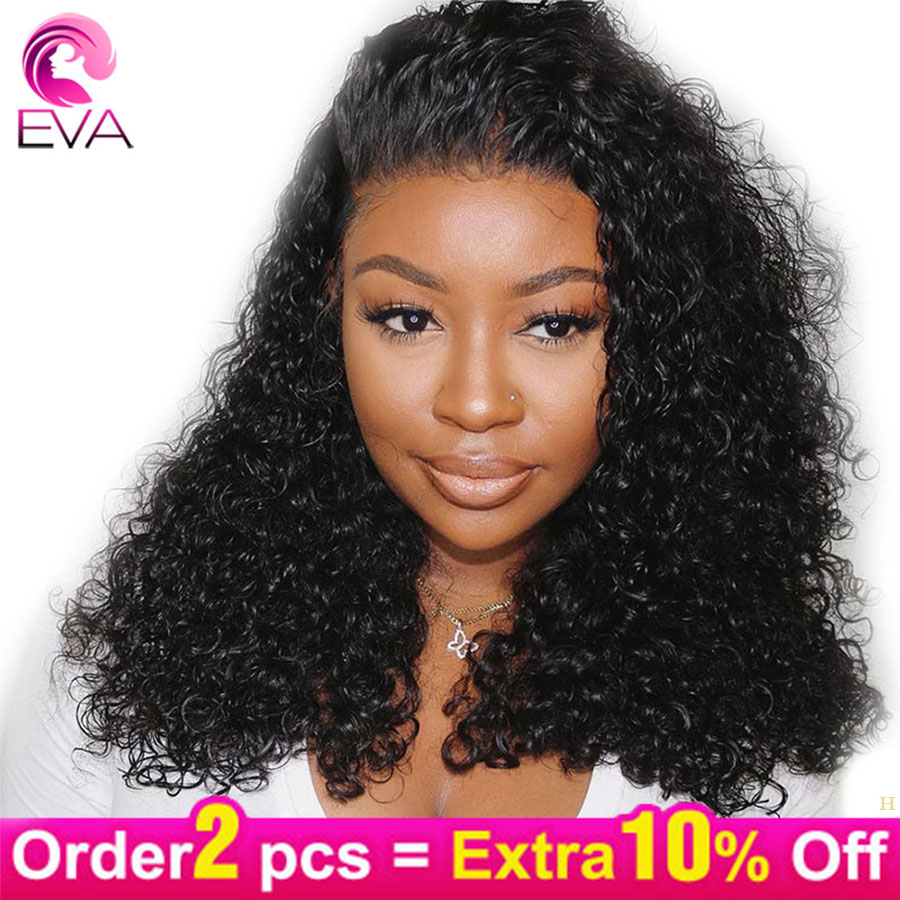 Eva 13x6 Lace Front Human Hair Wigs Short Bob Curly 150% Density Brazilian Remy Wigs Pre Plucked With Baby Hair For Black Women
