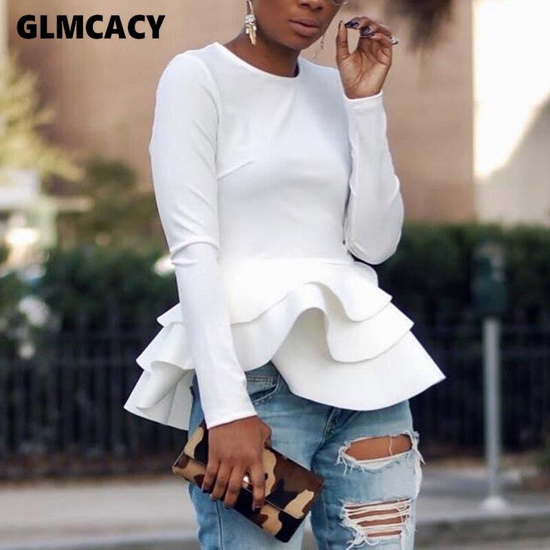 Женская каскадная блузка с рюшами, с длинным рукавом и круглым вырезом, элегантная шикарная весенне-осенняя Офисная женская уличная одежда,...