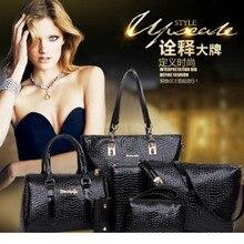 цена на New European and American one - shoulder cross - carry mother-child bag - six - piece embossed crocodile - print female bag