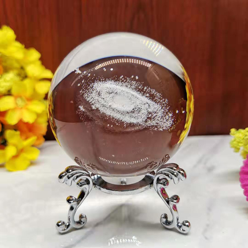 6CM Diameter Globe Galaxy Miniatures Crystal Ball 3D Laser Engraved Quartz Glass Ball Sphere Home Decoration Accessories Gifts