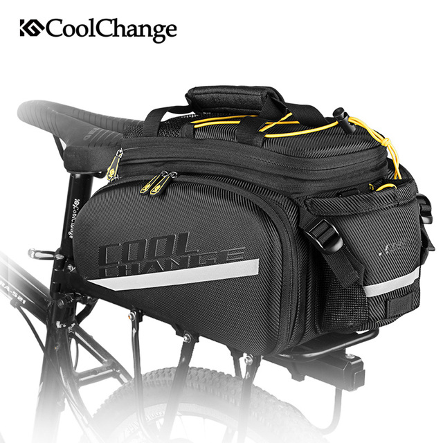 Coolchange saco de bicicleta à prova d35água 35l multifuncional portátil ciclismo traseiro saco da cauda bolsa ombro acessórios