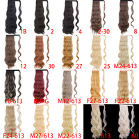 MERISI Long Hollywood Wave Ponytail Wrap Around Synthetic Ponytail Body Wave Clip in Hairpiece Blonde Wave Ponytail for Women