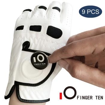 Trwałe na każdą pogodę męskie rękawice golfowe z markerem kulkowym lewa ręka Lh dla praworęcznych uchwyt do gry w golfa Fit S M ML L XL Drop Shipping tanie i dobre opinie O FINGER TEN CN (pochodzenie) kpballmarker001 Worn on Left Hand for Right-Handed Golfer 1 2 3 6 9 Pcs Golf Glove White 1 Pcs