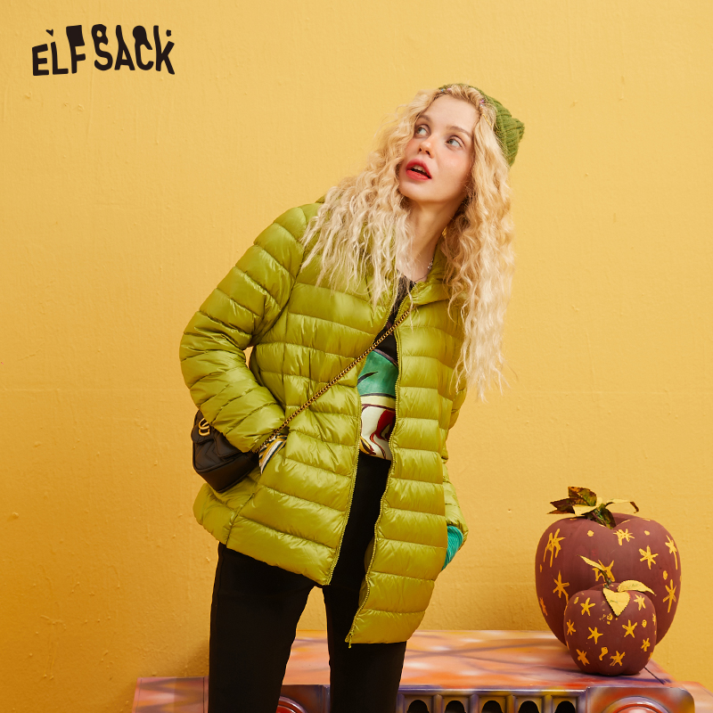 ELFSACK Ultra Light 80% White Duck Down Coat Women Solid Color Short Thin Jacket Autumn Winter 2019 Warm Slim Outwear Clothing