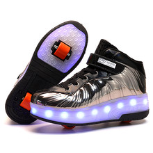 Children Two Wheels Luminous Glowing Sneakers Black Red Pink Led Light Roller Skate Shoes Kids Led Shoes Boys Girls USB Charging(China)