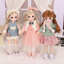 New 30cm Beautiful Princess Doll with Clothes 1/6 BJD Doll Cute and Delicate 3D Eyes Brown Hair New Gift Toy for Girls