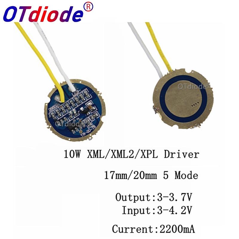 1-10pcs Cree Xml Led Xml2 Led T6 U2 Driver 17mm 20mm 2.7-4.2V 2-2.2A 5-Mode/1 Mode LED Driver For CREE XML LED Emitter