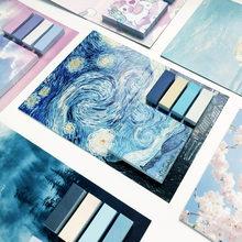 Notas pegajosas da arte conjunto bloco de notas criativo bonito menina caderno van gogh post-ele pode ser colado 325 folhas cadernos atacado