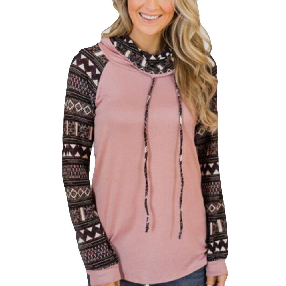 Fashion Womens Hoodies Moletom Feminino Turtleneck Tops Splice Print Shirts Tunic Long Sleeve Pullover Sweatshirt Female Hoodie