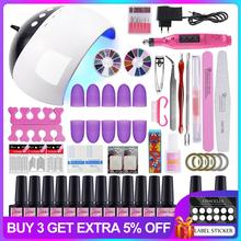 Nail Set UV LED Lamp Dryer With Choose 6/10/12 Colors Nail Gel Polish Kit Soak Off Manicure Drill Machine Kit Nail Art Tools elite99 6 colors uv led soak off gel nail polishing set