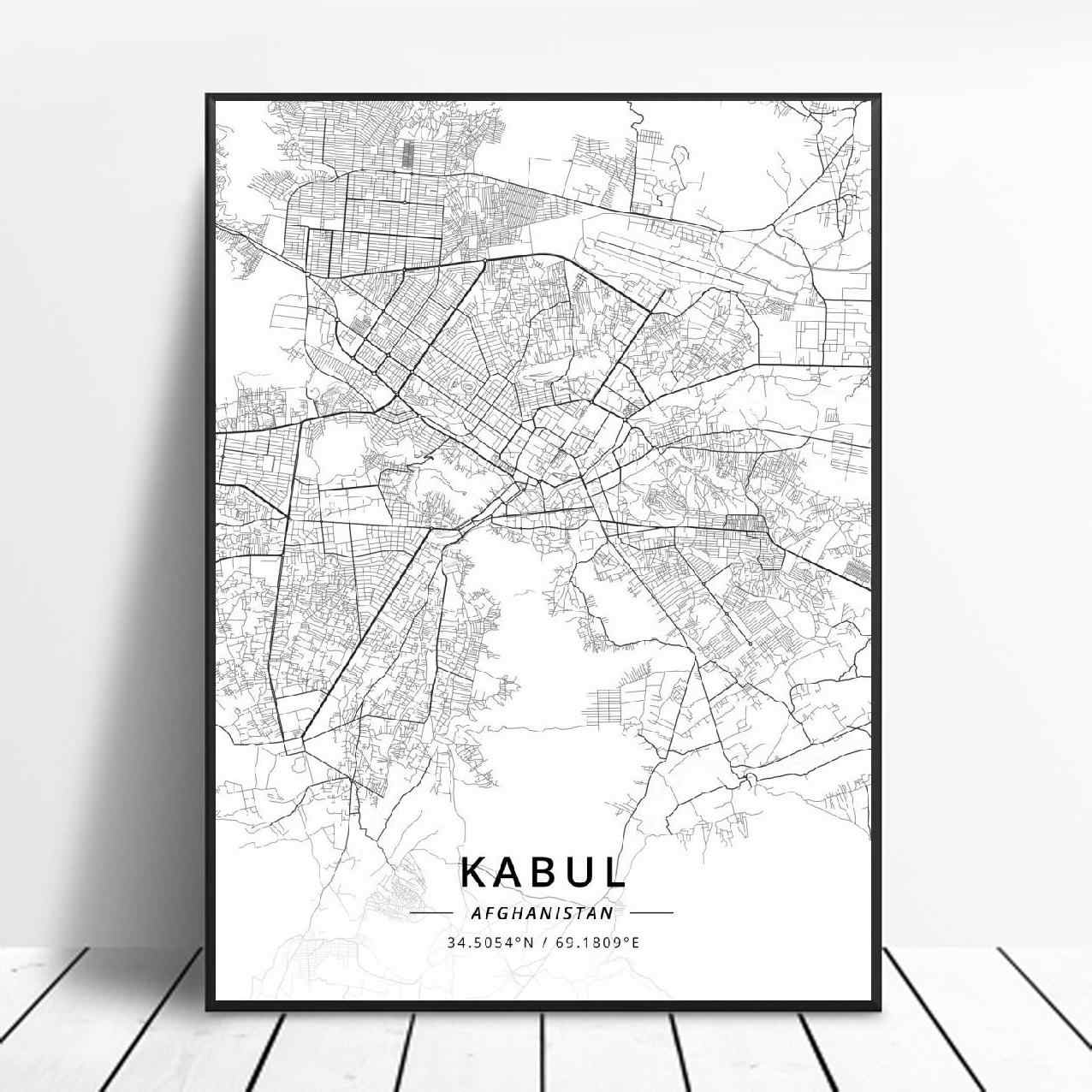 Black And White Kabul Afghanistan Latitude Longitude Canvas Art Map Poster Painting Calligraphy Aliexpress
