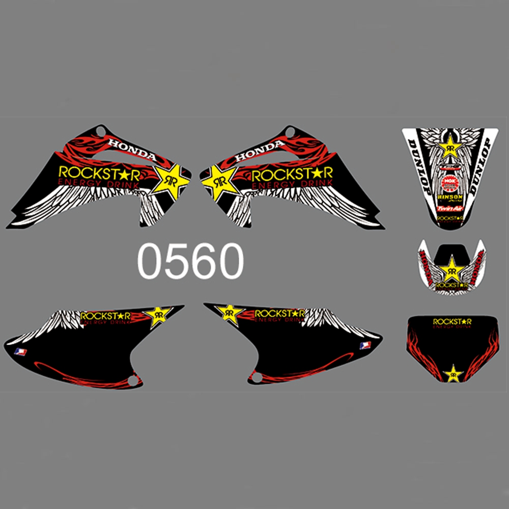 FOR <font><b>HONDA</b></font> CRFTRAIL <font><b>150</b></font> CRFTRAIL 230 2003-2007 Full Graphics Decals <font><b>Stickers</b></font> <font><b>Kit</b></font> Custom Number Name Glossy <font><b>Stickers</b></font> Waterproof image