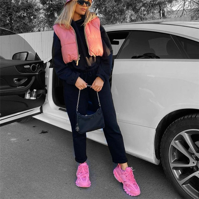 PUWD Casual Woman Pink Light Short Puffer Vest 2021 Spring Fashion Ladies Warm Double-Side Outwear Female Streetwear Down Tank 6