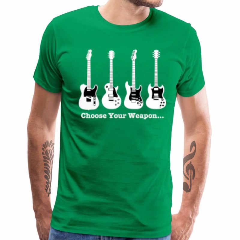 Choose Your Weapon T-shirt Men Band Tees Electric Guitar Print Tops T Shirt Simple Hip Hop Streetwear 100% Cotton Fabric Camisa