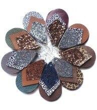 3 camada glitter ouro leopardo impressão brincos de couro para mulheres animal impressão grande folha brincos dia dos namorados presente