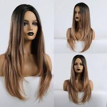 EASIHAIR długa fala peruki syntetyczne Ombre brązowe peruki dla czarnych kobiet Glueless faliste Cosplay peruki wysokiej temperatury włókna sztuczne włosy
