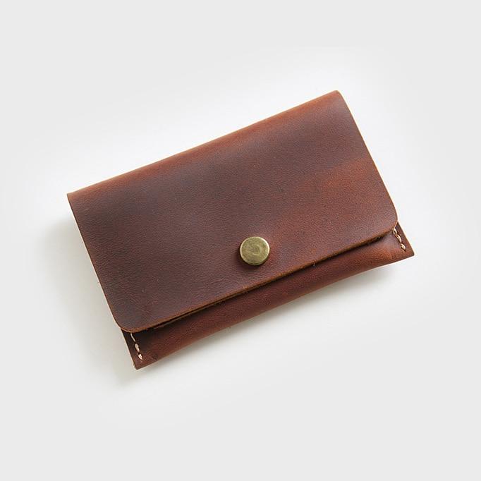 Minimalist Genuine Leather Wallet for Credit Cards Hasp Cardholder