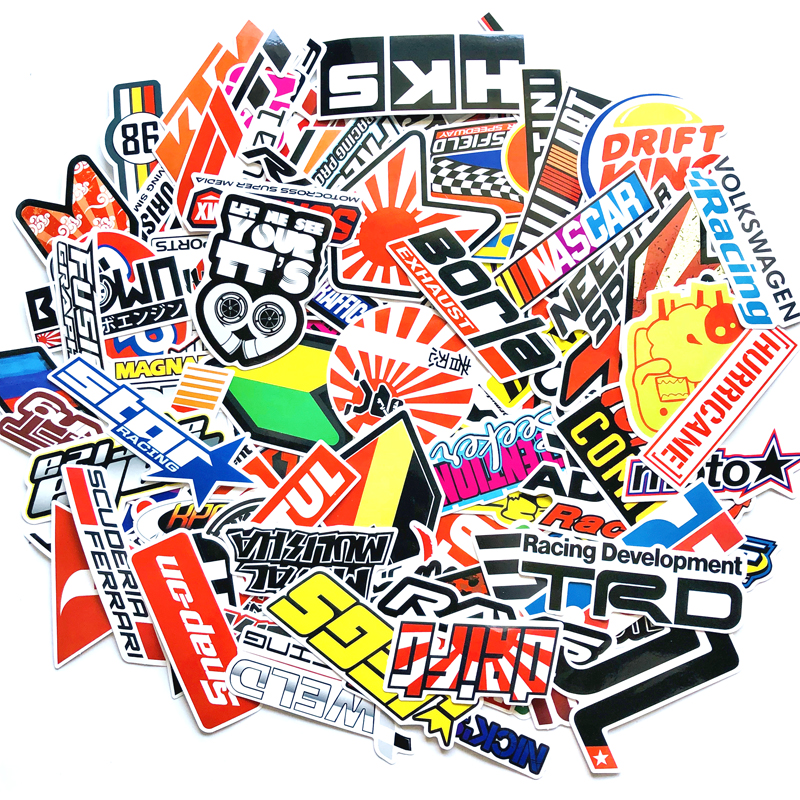 100PCS Racing Car Stickers Motocross Racing Helmet Skateboard Bicycle Laptop PVC JDM Decal Luggage Sticker HKS
