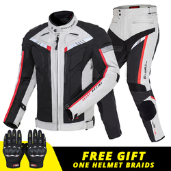 Motorcycle Jacket Man Set Motorbike Pants Suit Riding Windproof Cold-proof Autumn Winter Moto Jacket Body Armor Clothing Gray