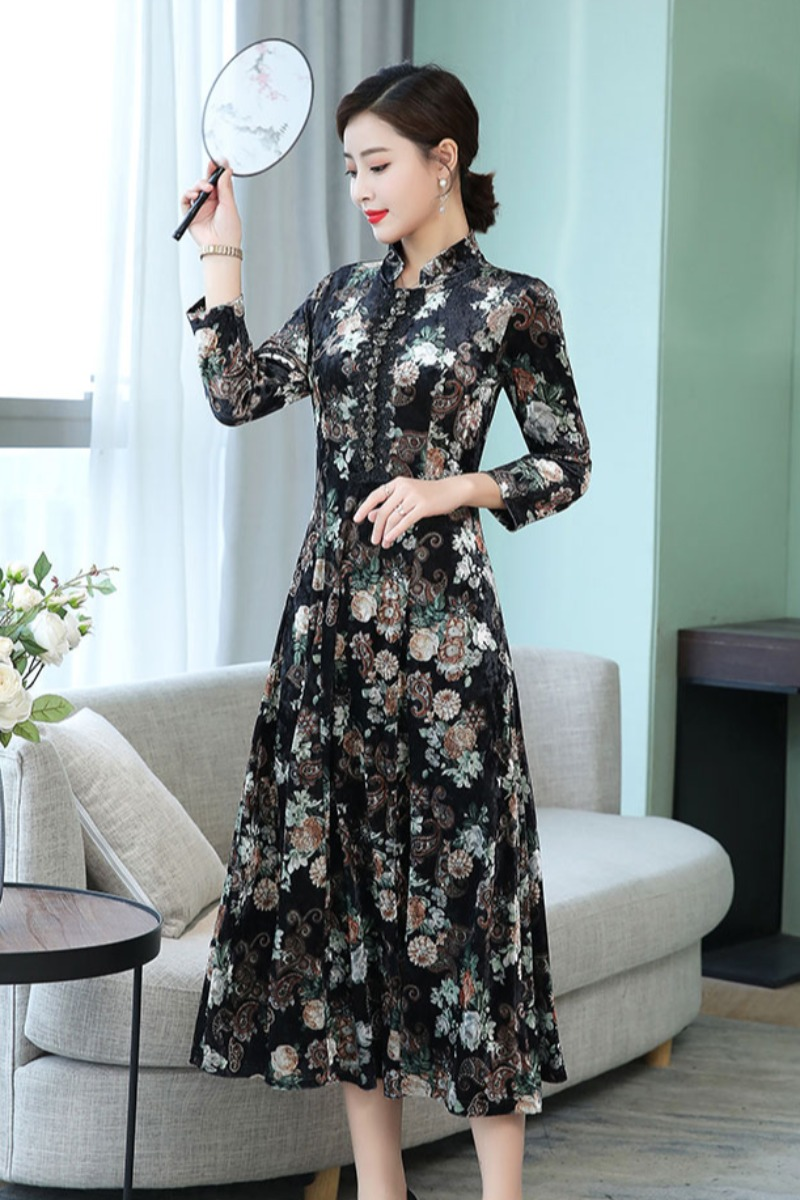 2020 Chinese Dress Elegant Vintage Women Qipao Classic Cheongsam Dress Oriental Chinese Style Dress Evening Party Gown