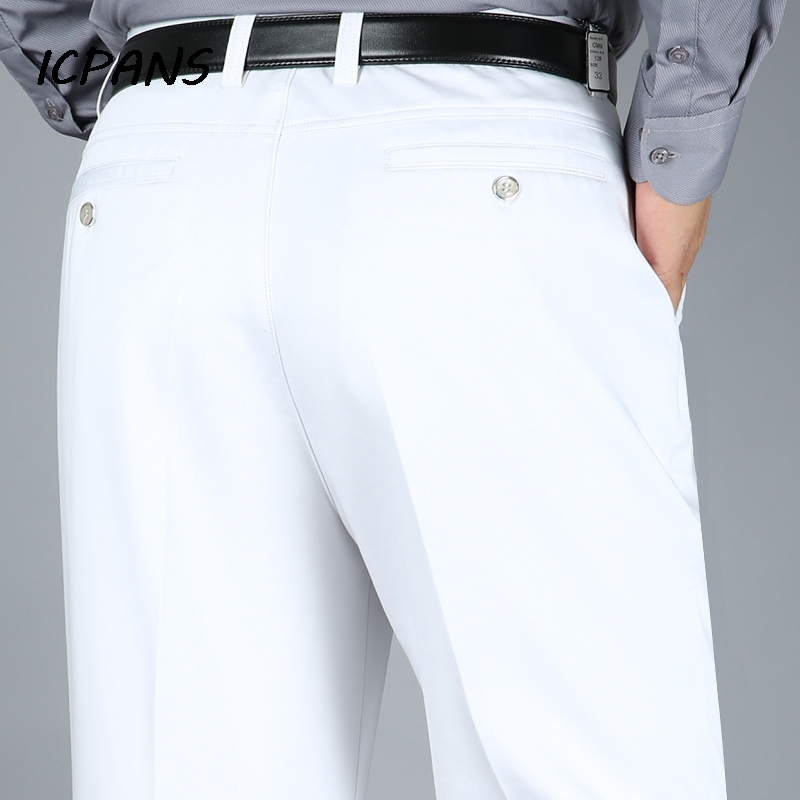 ICPANS Big Size 29-40 42 44 Dress Pants Men Straight Stretch High Waist Cotton Black White Office Formal Suit Trousers Man