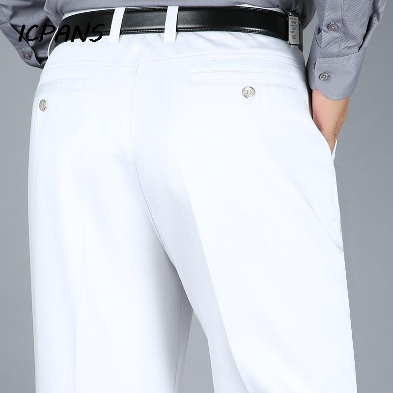 ICPANS Big Size 29-40 42 44 Dress Pants Men Straight Stretch High Waist Cotton Black White Office Formal Suit Trousers Man