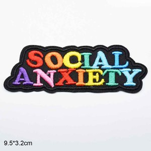 Colorful Social Anxiety Home Is Best Save Water Letters Word Iron On Embroidered Clothes Patches For Jeans Backpacks Clothing(China)