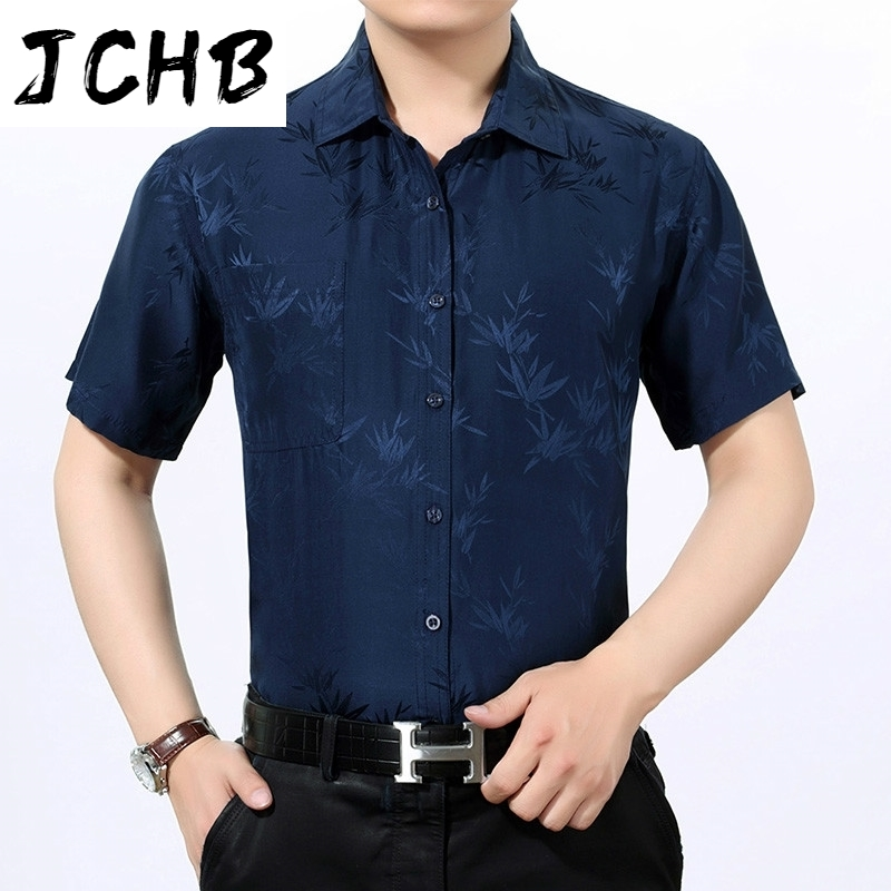 100% JCHB Silk Shirt Men Casual Summer Shirts for Men Clothes 2021 Short Sleeve White Shirt Chemise Homme 3022 KJ4553