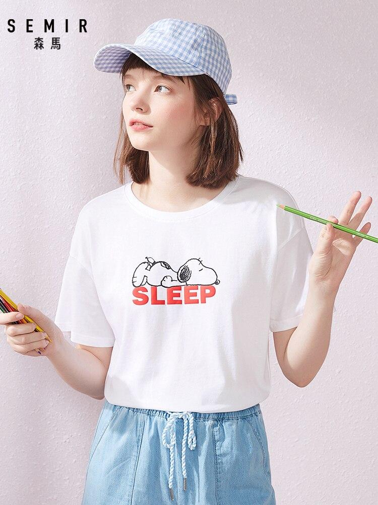 Semir 2020 Summer Short Sleeve T-shirts Women Hit Color Printing Round Neck White T-shirt