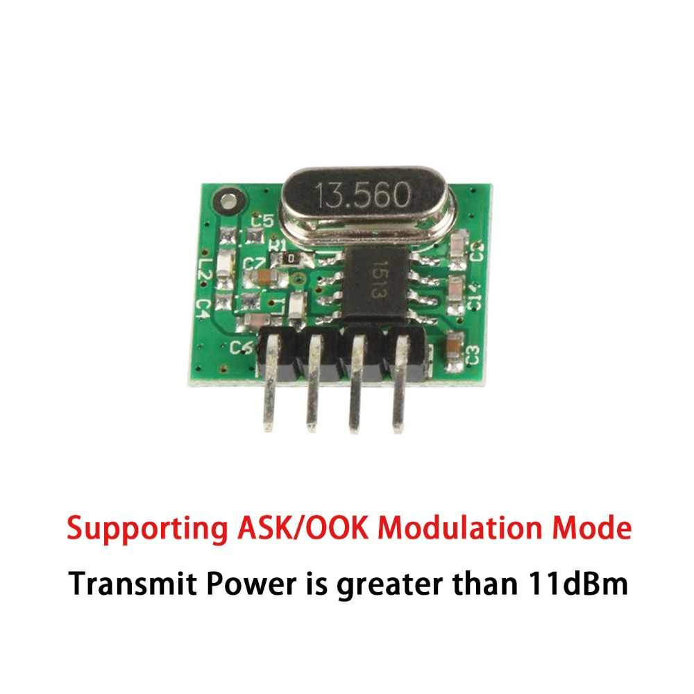 Módulo QIACHIP de TRANSMISOR DE RF ASK superheterodino de 433Mhz, Kits de bricolaje CC 1CH, 433,92 Mhz, mando a distancia inalámbrico para MCU Arduino Uno