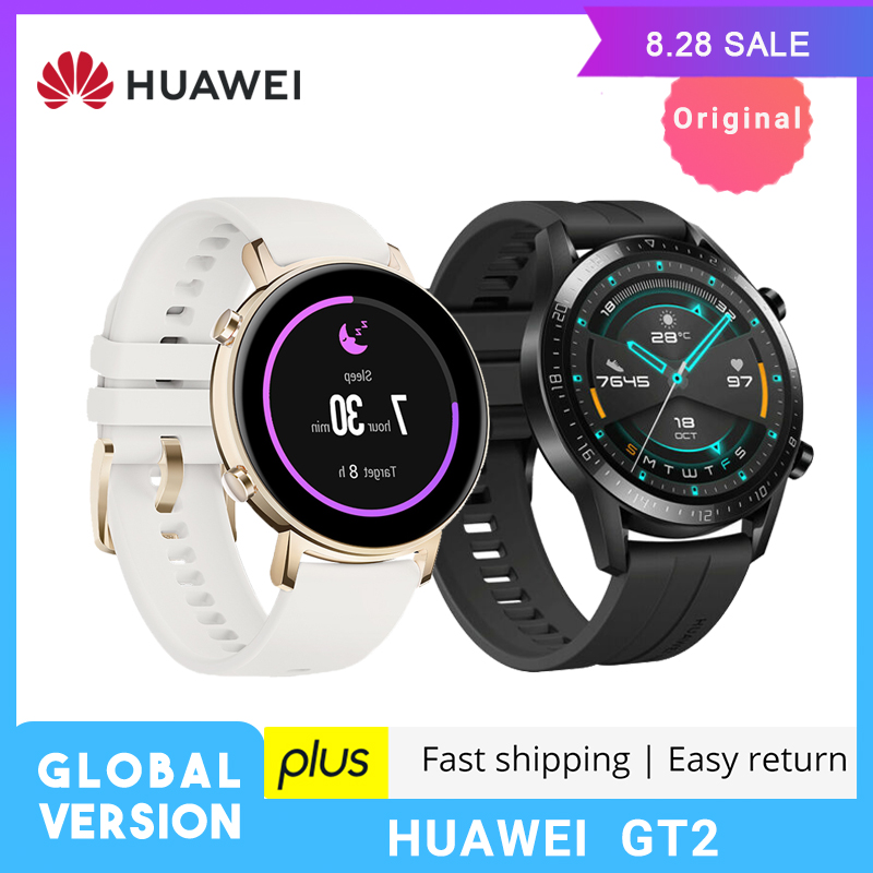 Huawei GT2 GT 2 <font><b>Smart</b></font> <font><b>Watch</b></font> Global Version 42mm SmartWatch GPS Waterproof <font><b>Bluetooth</b></font> For Android iOS Heart Rate Ringer Pulse image