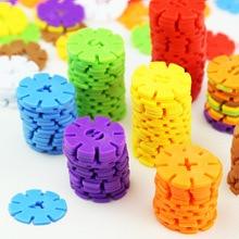 3cm 50/100pcs Building Blocks Children's Plastic Snowflake Shape Kids Educational Toy Assemblage Colorful Model Building Kit