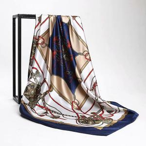 2020 Kerchief Silk Scarf Women Satin Hijab Fashion Print Handkerchief Bag Hair Scarfs Female Square Shawls Neck Scarves DH04