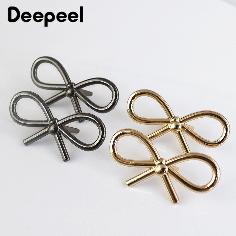 Deepeel 5/10pcs 44*22mm Bow Shoes Buckle Metal Bags Clothing Decor Buckles DIY Leather Craft Luggage Hardware Accessories BD437