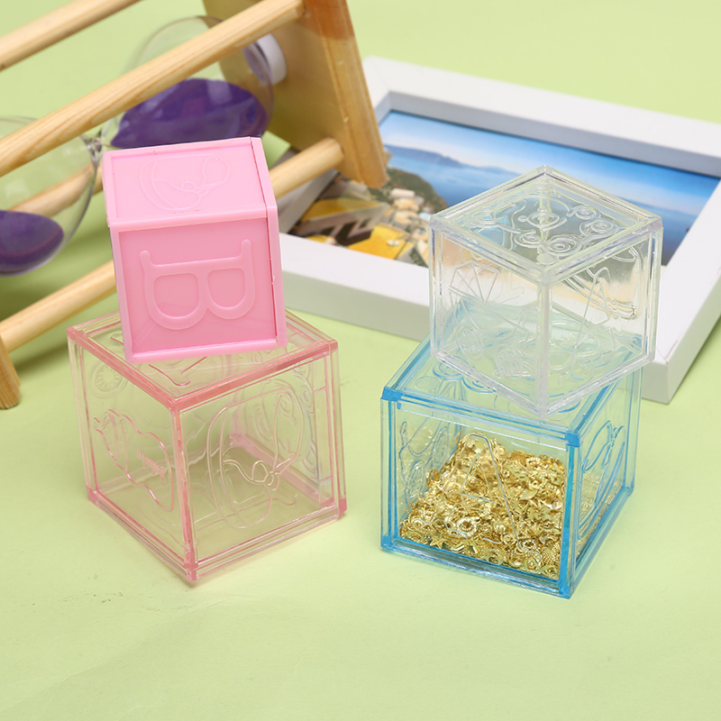 1PCS Hollow Cube Transparent Plastic Gift Cookie Candy Box Jewelry Display