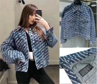 AAW075 Women Men Unisex Couple Letter Allover Logo Full Print Denim Jacket Coat A2