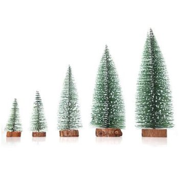 DIY Mini Christmas Tree Table Decor Christmas Pendant Gift Pine Needle Flocking Stained White Cedar Christmas Ornaments for Home image