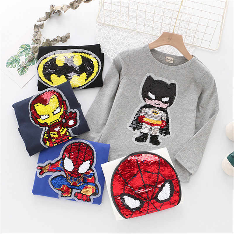 Baby Boy Cartoon Anime T-shirt Jungen Frühling Herbst Captain America Batman Spiderman Ironman Langarm Pailletten Ändern Sweatshirts