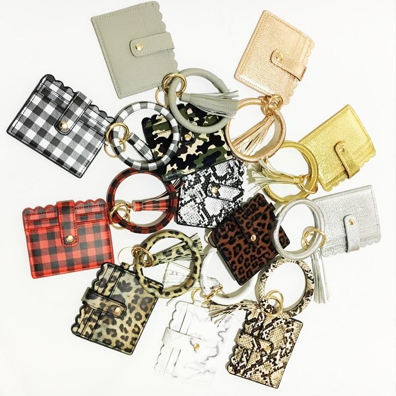 2020 New Leopard Kaba Snake PU bracelet Coin Purses Bag For Girl Women bangle Mini Wallets Money Card Holder Tassel Keychain