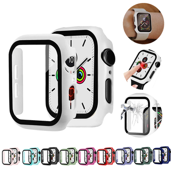 Watch Cover Case for Apple 6/5/4 40MM/44MM PC Bumper Frame with Glass Protector Film IWatch Accessories 3/2 38MM/42MM