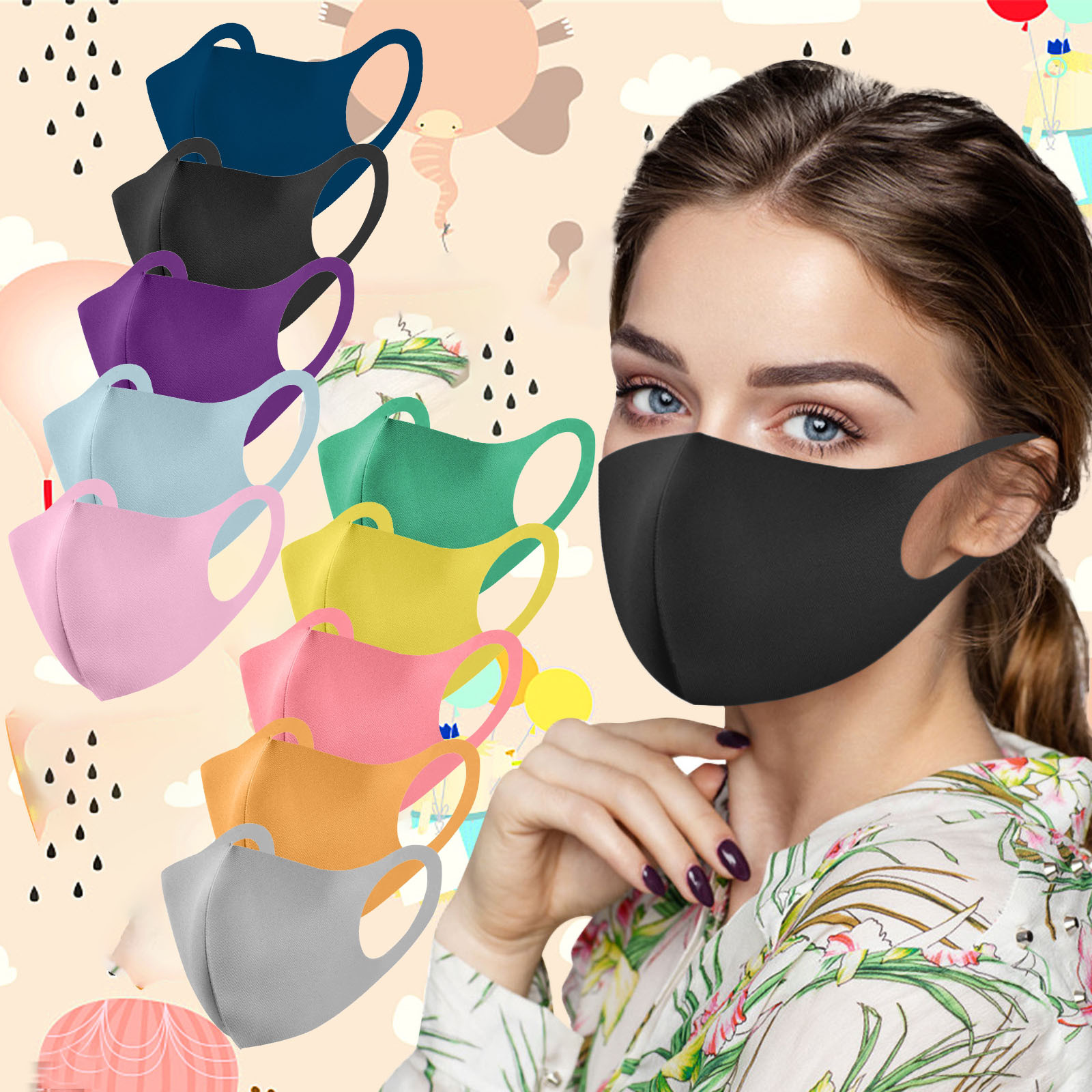 7 шт. Одноразовые черные чехлы рот маска для взрослых Твердый защитный маски для лица Mascarilla Imprimida Maseczka Ochronna