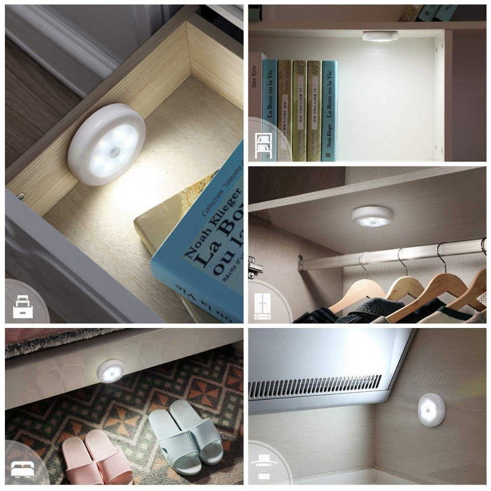 6 LEDs PIR Motion Sensor Night Light Wireless Detector Infrared Light Wall Lamp Auto On/Off Closet Battery Power Creative Gift