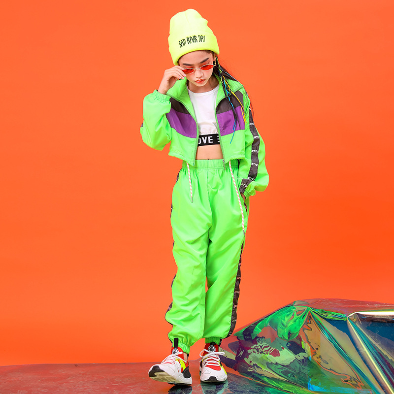 Children Fashion Green Hip Hop Clothing Short Jacket Top Crop Coat Running Casual Pants For Girl Jazz Dance Costume Clothes Wear