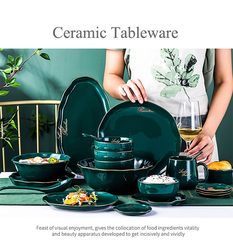 New Green Gold Ceramic Dessert Plate Dish Porcelain Family Dinner Bowl Soup Salad plateNordic Luxury Style Dinner Tableware Set