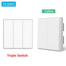 Aqara inteligente interruptor de parede d1 zigbee interruptor de luz chave controle remoto sem fio fogo neutro botão triplo para xiaomi casa inteligente