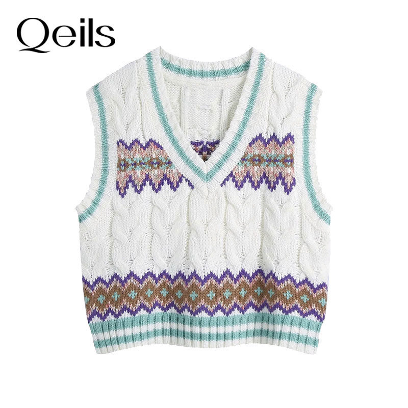Qeils 2021 moda solta recortada cabo-malha colete camisola vintage v pescoço sem mangas feminino colete chique topos