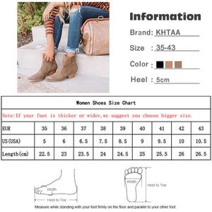 Image 5 - מגפי קרסול נשים סתיו זמש אישה רוכסן תפירת הבוהן מחודדת גבירותיי נשים עקבים שמנמנים מגפיים קצרים נעליים נקבה בתוספת גודל 2020